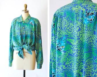vintage Escada animal print oversized silk blouse / size medium large