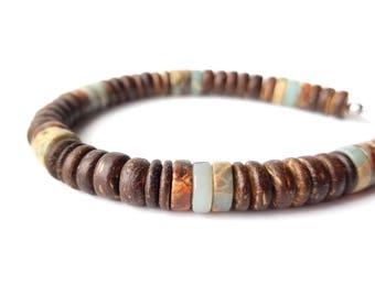 Surfer men's bracelet - wood and gemstone bracelet for men - Earth and Sea
