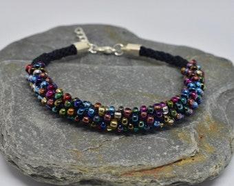 Kumihimo Beaded Bracelet - Multi-colour/Black