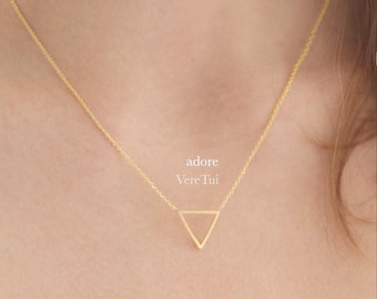 Dainty Geometric Cutout Gold Triangle Layering Necklace