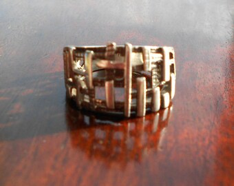 Vintage Modernist Brutalist Silver Ring, 925 silver ring, 1960s or 1970s