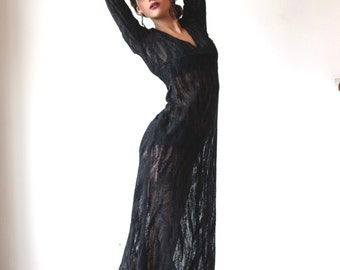 Emanuel Ungaro Parallele Dress / Vintage UNGARO Black Gown / Beaded Crushed Velvet Designer Dress S 6 Free Shipping Worldwide