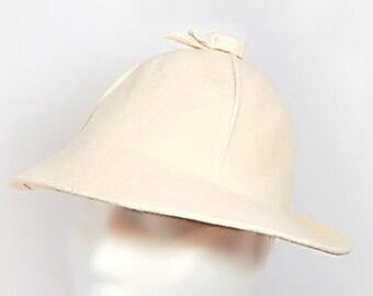 Geo W. Bollman Off-White Felt Wool Hat USA 1950's
