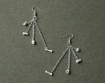 Multistrand Chain and Bone Earrings