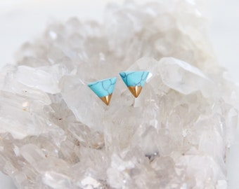 Triangle Turquoise, Hand Gilded, Tiny, Post Earrings, Triangle Studs