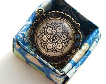 Sonia Necklace Hand Drawn Pendant Floral Geometric Design Nature Flower Art Henna Mehndi Vintage Style Handmade Jewelry Happiness Symbolism