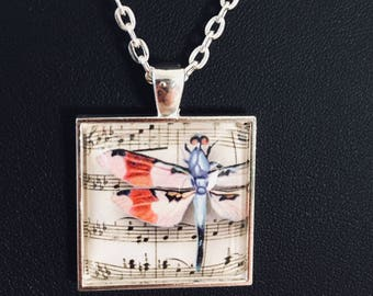 Dragonfly, Dragonfly pendant, dragonfly necklace, jewelry, handmade, gift, silver, cabochon