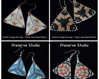 Beading Tutorial - Get All 4 Peyote Triangle Delica Seed Bead Patterns, Beaded Triangle Pattern, DIY Earrings, Peyote Stitch