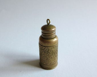 antique brass cosmetic bottle necklace