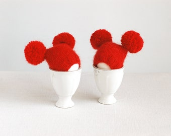 SALE 10% OFF Red egg warmers with funny poms