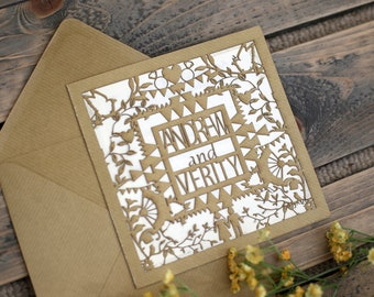 Laser Cut Rustic Wedding Invitation SAMPLE