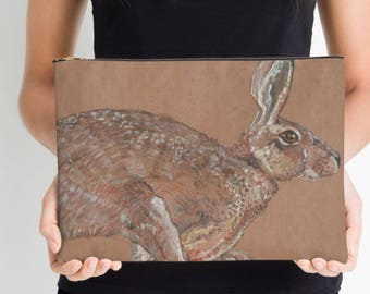 Racing hare, watercolour painting, studio pouch large
