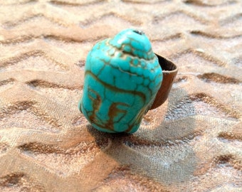 Turquoise Dyed Howlite - Buddha's Head Ring - Adjustable Copper Ring - Hippie - Boho style