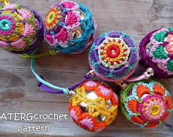 Crochet pattern Christmasball flower by ATERGcrochet
