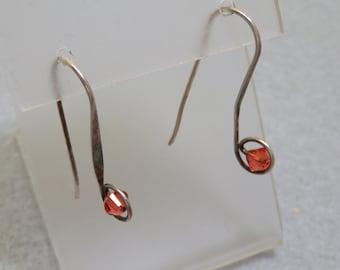 Modern Sterling Wire Pierced Earrings, Vintage, Orange Crystal