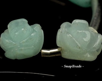 8x5mm Aqua Amazonite Gemstone Carved Rose Flower 8x5mm Loose Beads 5 Beads (90189993-93)