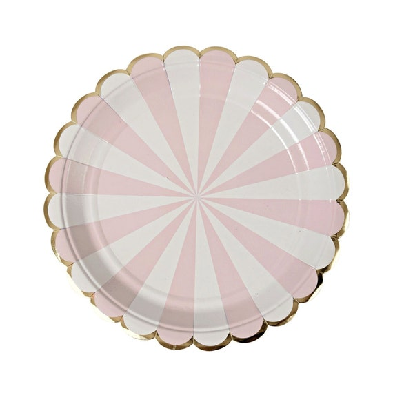 sc 1 st  Etsy & Pink Striped Paper Plates Small Pink Paper Plates by Meri