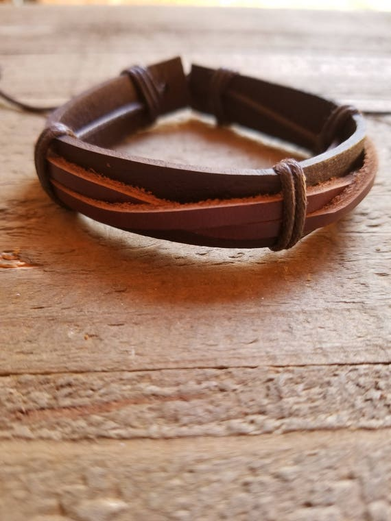 Dark Brown Leather Weaved Brown Bracelet Native American Style Fashion Cuff