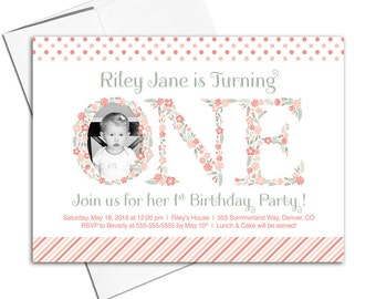 First birthday girl invitations | girls 1st birthday invitations | floral invitations | kids birthday invites | printable printed - WLP00308