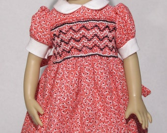 13-14 inch Doll,  Little Darling and Betsy McCall Dress, Red and Blue Smocked Dress