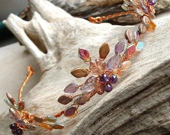 Boho Wedding Tiara Autumn Flame Amethyst and Copper