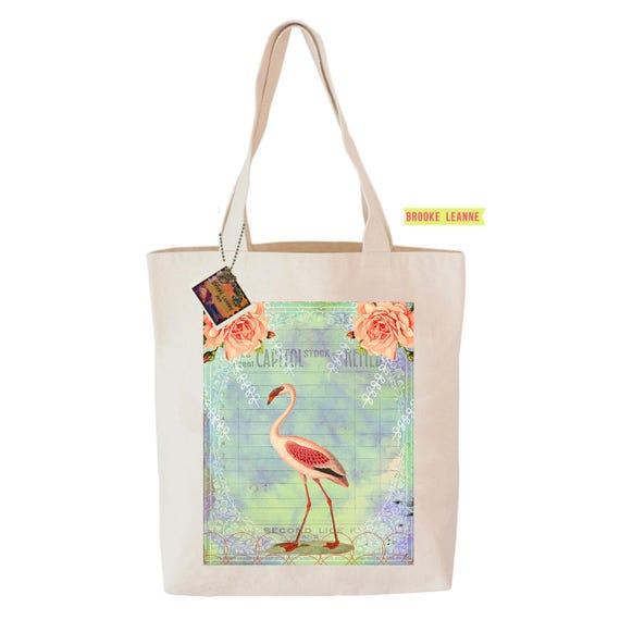 Flamingo Tote Bag  - Reusable Grocery Shopping Bag - Farmer's Market Bag - Cotton Eco Tote Bag - Book Bag - Free Shipping