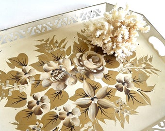 vintage gold cream toleware tray metal floral tray large decorative tray shabby chic decor