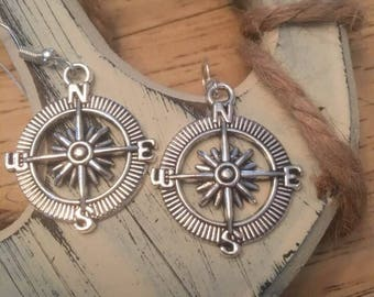 Compass Earrings,North,East,West,South, Journey Earrings,Directional Jewelry