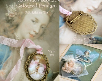 Sleeping Fairy- Pendant with Chain/ broach and Ribbon  'See drop down menu for options'