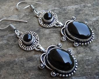 Natural Sterling Silver Black Onyx Earrings - Natural Black Onyx Stone - Handmade earrings Boho Chic Earrings - Black Onyx Earrings