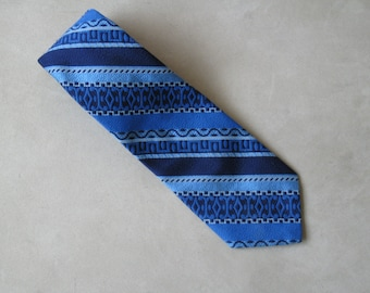 1970s Vintage Italian Blue Striped Necktie