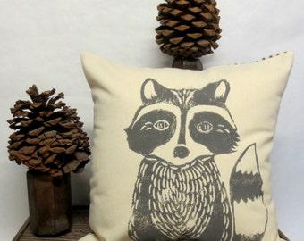 Hand Block Printed Raccoon Decorative Pillow