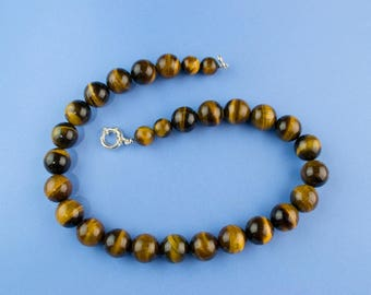 Necklace Banded Agate Beads Sterling Silver Clasp Medium Brown Vintage Large