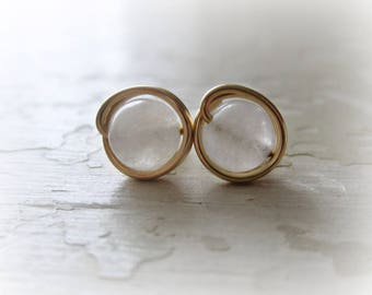 White Agate Studs, White Stud Earrings, Gold Stud Earrings, Wire Wrap Studs, Natural Stone Studs, Gold Post Earrings, Gemstone Studs