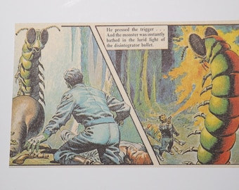 Scary Monster! Blank Greetings Card. Vintage Comic Strip. English classic.