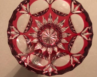Vase, vintage, polished, red, transparent