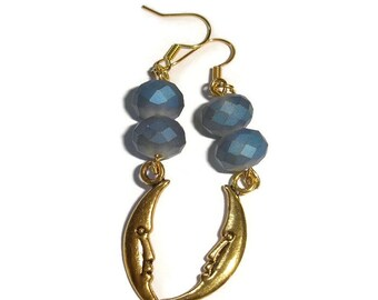 Crescent Moon earrings Crystal Earrings dark Blue crystal Earrings crescent moon crystal earrings gold moon earrings blue earrings handmade