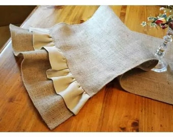 Natural Burlap Table Runner with Ruffles - Various Sizes