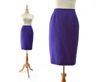 Purple Skirt, Pencil Skirt, Small Skirt, Vintage Skirt, xs skirt, wool skirt, womens skirt, small purple skirt