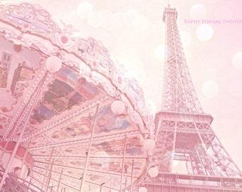 Pink Paris Eiffel Tower Prints, Paris Photography, Eiffel Tower Carousel, Baby Girl Nursery, Paris Carousel Prints, Pink Eiffel Tower Prints