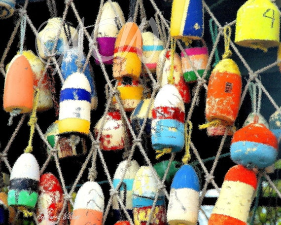 Colorful Oyster Buoys on a Fence in Apalachicola Florida (canvas)