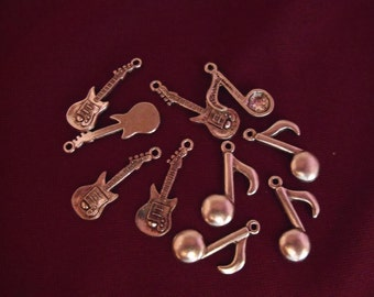 Silver Music Note And Electric Guitar Charms,  Lot of 10  Jewelry Making Supplies