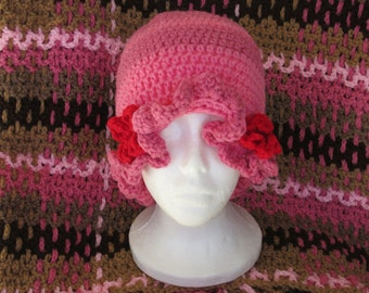 Pink and Red Flower Hat