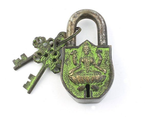 Temple Lock & Key Set, Solid Brass, Antique, Alter Ornament, Vintage Lock, Shiva,  Hindu Artifact, Home Decor,  Hardware Accessories