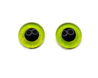 20mm German Glass Eyes,teddy bear,Colour Lemon Lime, Green,Yellow,lime, chartreuse,teddy bear eyes, hand painted glass eyes