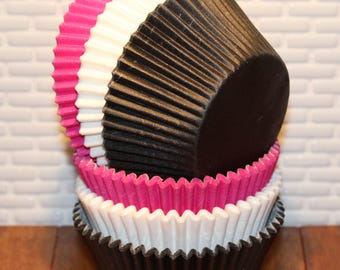 Black, Brite Pink & White Heavy Duty Cupcake Collection (Qty 30) Black Cupcake Liners, Pink Cupcake Liners, White Cupcake Liners, Baking Cup