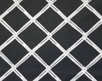 Black Lattice Fabric, VL Black Diamonds Polyester Cotton Blend Fabric