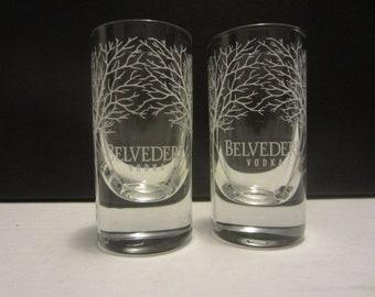 Set of 2 NEW Belvedere Luxury Polish Vodka Signature Satin Trees Tasting Shot Glasses