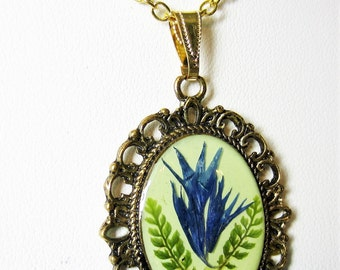 Bachelor's Button Petals and Ferns Pendant, Real Flowers, Pressed Flower Necklace, Resin (1955)