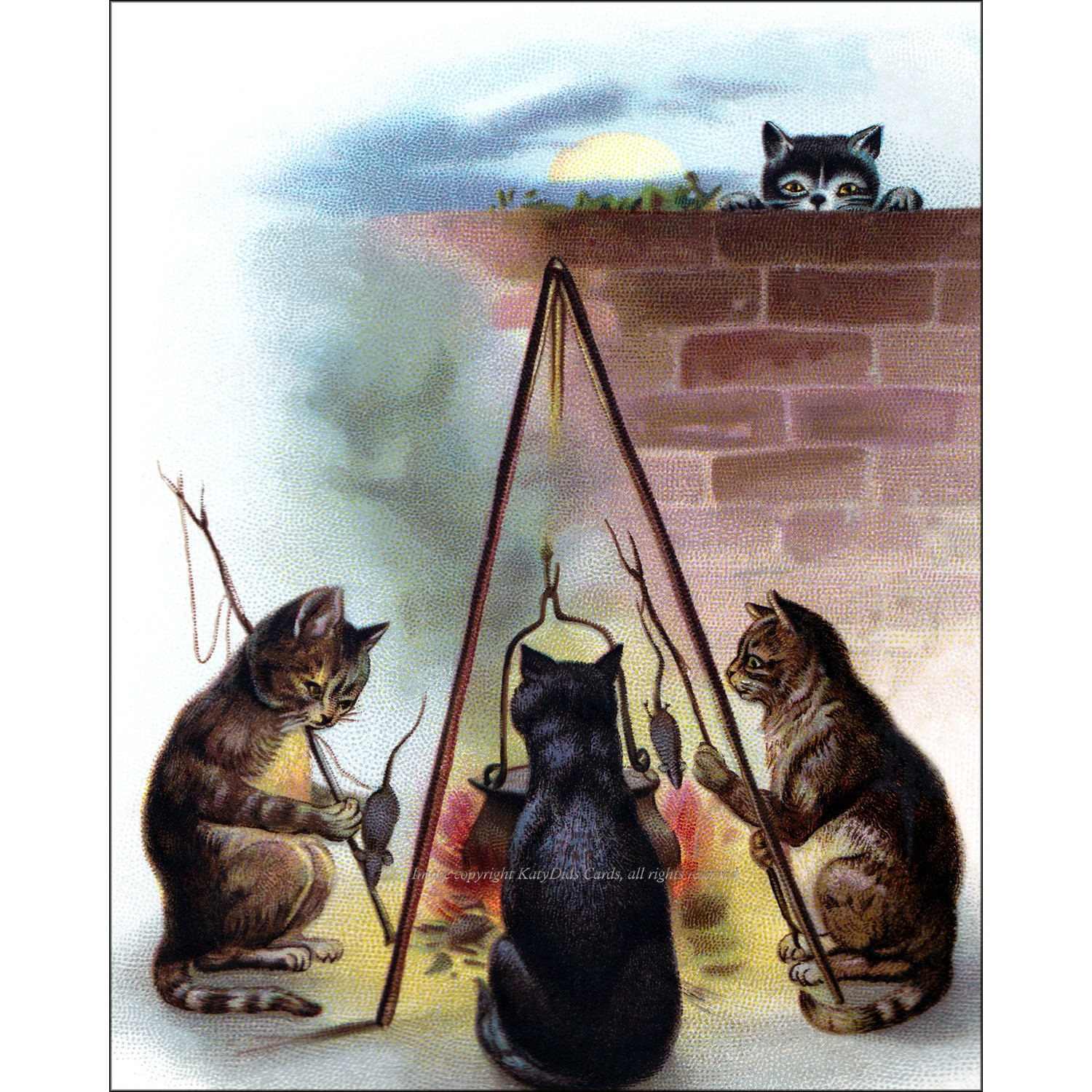 Halloween Cats Card Cook Mice In Cauldron Witch Spell Full